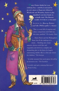Young Wizard on the backcover of Harry Potter and the Philosopher's Stone